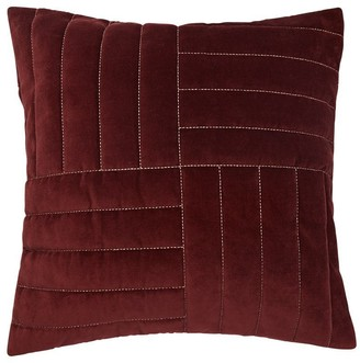 "Indigo Metallic Quilted Velvet Pillow Cover Raw Umber, 20"" X 20"""