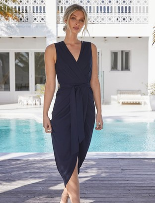 Forever New Liza Wrap Midi Dress - Navy - 10