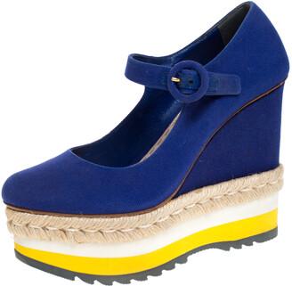 Prada Blue Canvas Mary Jane Platform Wedge Pumps Size 36