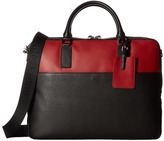Bugatchi Pebble Leather Full Grain Two-Tone Brief Case Briefcase Bags