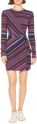 Parker Kade Mixed-Stripe Long-Sleeve Short Dress