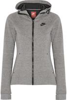 Nike Tech Fleece Cotton-blend Jersey Hooded Top - Gray
