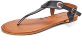 Star Bay Women's Sandals Black - Black Grommet-Accent T-Strap Sandal - Women