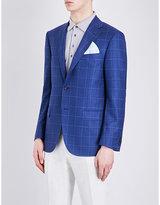 Corneliani Academy-fit Windowpane-print Silk Jacket