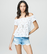 Cape Juby Sheer Lace Off Shoulder Peasant Top