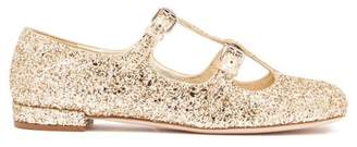 Miu Miu Glittered Mary-jane Leather Flats - Womens - Gold