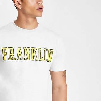 River Island Franklin and Marshall grey yellow logo T-shirt