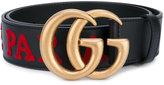 Gucci l'Aveugle par Amour embroidered Double G belt - women - Cotton/Calf Leather - 70