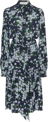 Michael Kors Floral Crepe De Chine Pleated Shirt Dress
