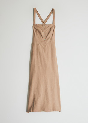 Stelen Women's Drew Crossback Dress in Khaki, Size Small | 100% Cotton