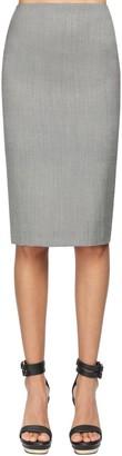 Alexander McQueen High Waist Cool Wool Pencil Skirt