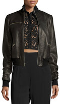 A.L.C. Jordyn Pebbled Leather Zip-Front Jacket, Black