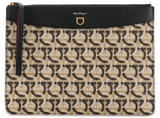 Salvatore Ferragamo Zipped Logo-Print Clutch Bag