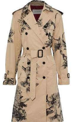 Valentino Floral-print Cotton-blend Gabardine Trench Coat