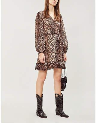 Ganni Ladies Black and Brown Leopard-Print Tilden Chiffon Wrap Dress