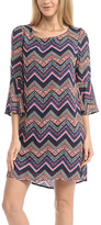 Celeste Purple Zigzag Bell-Sleeve Dress