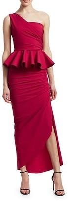 Chiara Boni Okoye One-Shoulder Peplum Gown