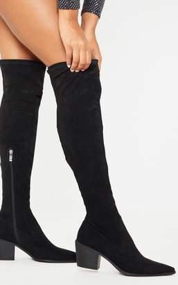 PrettyLittleThing Black Thigh High Western Sock Boot