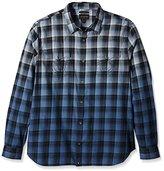 True Religion Men's Dip Dye Plaid Western Shirt