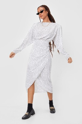 Nasty Gal Womens If I Ain't Spot You Shoulder Pad Midi Dress - White - 4