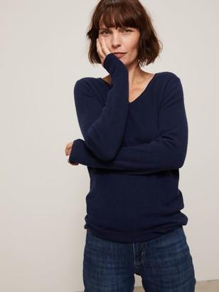 John Lewis & Partners Cashmere Rib Trim V-Neck Sweater