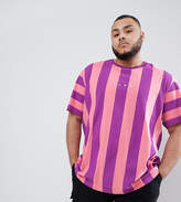 Puma PLUS Vertical Stripe T-Shirt In Pink Exclusive To ASOS