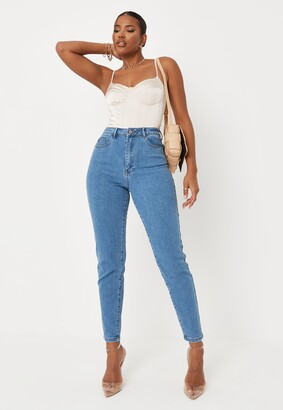 Missguided Blue High Waisted Comfort Stretch Denim Mom Jeans
