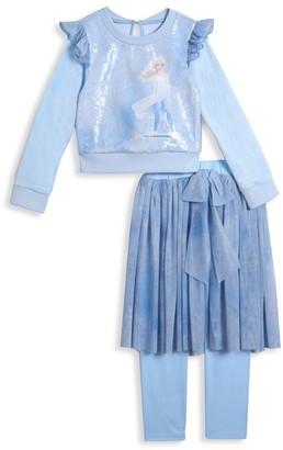 Pippa & Julie Disney's Frozen 2 Little Girl's & Girl's 2-Piece Elsa Sequin Top & Legging Set