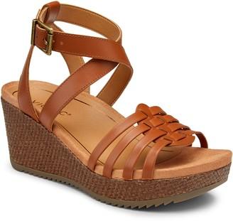 Vionic Leather Platform Sandal Wedges - Clarisa