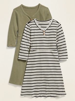 Old Navy Rib-Knit Long-Sleeve Henley Dress 2-Pack for Girls