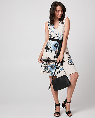 Le Château Floral Print Woven Mandarin Collar Dress