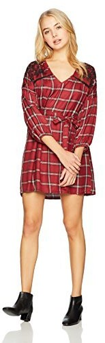 Thumbnail for your product : Angie Women's Long Sleeve Plaid Dress