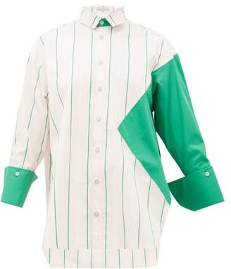 Palmer Harding Palmer//Harding Palmer//harding - Taraz Panelled Striped Cotton-poplin Shirt - Womens - Pink Multi