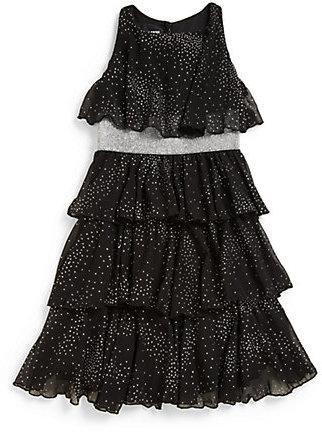 Un Deux Trois Girl's Glitter Tiered Chiffon Party Dress