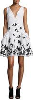 Carolina Herrera Feather-Embellished Faille Cocktail Dress, Black/White