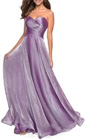 Thumbnail for your product : La Femme Strapless Metallic Chiffon Gown with Ruched Bodice
