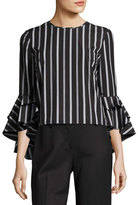 Milly Gabby Striped Ruffle-Sleeve Top, Black