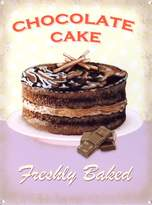 Grindstore Food and Drink Tin Sign featuring A Freshly Baked Chocolate Sponge Cake 30x40cm