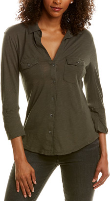 James Perse Ribbed Panel Blouse