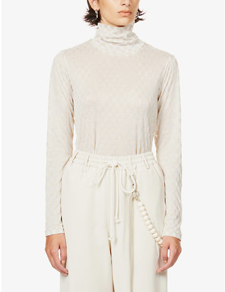 Song For The Mute Checked turtleneck stretch-knit top