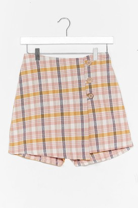 Nasty Gal Womens Check Up On It Linen Wrap Skort - Pink - 4