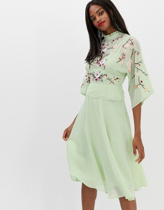 Asos Design DESIGN embroidered high neck 70s midi dress-Green