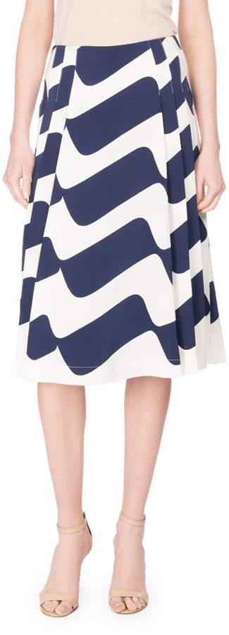 Victoria Beckham Wave-Print Pleated Midi Skirt, Blue/White