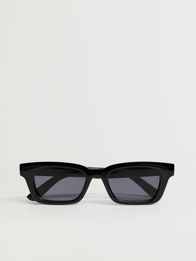 MANGO Square Frame Sunglasses - Black