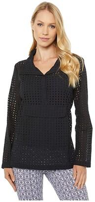 Elliott Lauren Let It Breathe Eyelet Messenger Shirt (Black) Women's Clothing