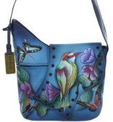 Anuschka 432 Hand Painted Genuine Leather Cross Body Sling Shoulder Bag (Hawaiian Twilight)