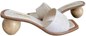 Cult Gaia Ecru Cloth Sandals