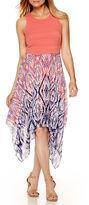 Robbie Bee Sleeveless Geometric Print Scarf Hem Dress