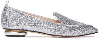 Nicholas Kirkwood Beya Glittered Cotton-blend Point-toe Flats