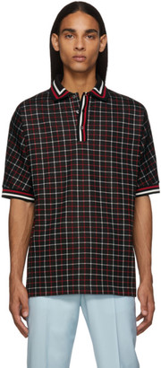 Paul Smith Black and Red Tattersall Check Polo